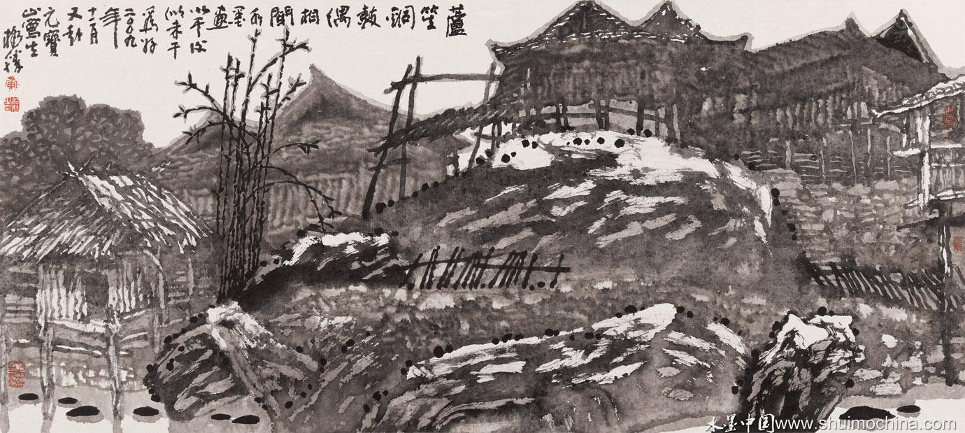 黄格胜三江风景钢笔速写